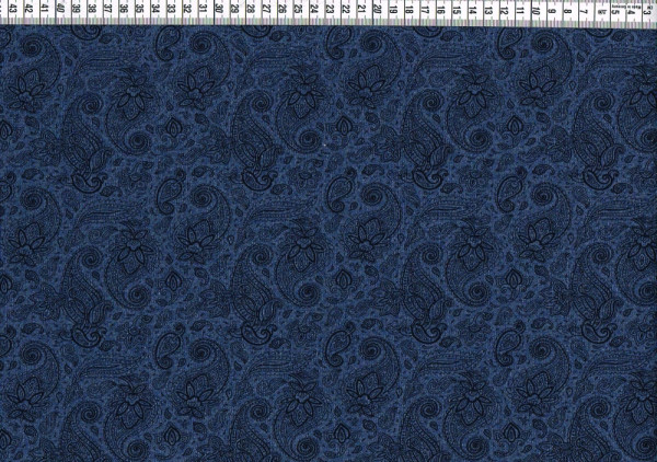 French Terry - Paisley jeansblau