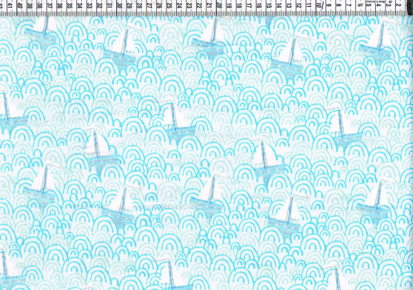 Patchwork-Flanell - Boote hellblau